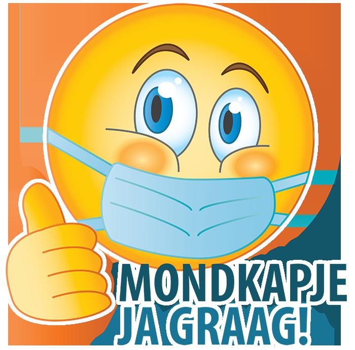 Emoji Mondkapje Ja Graag Duimen Omhoog met Witrand